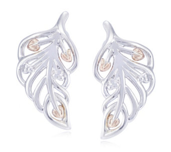 Clogau 9ct Rose Gold & Sterling Silver Debutante Feather Earrings - 313250