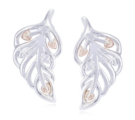 Clogau 9ct Rose Gold & Sterling Silver Debutante Feather Earrings