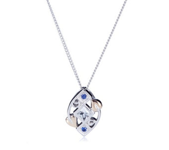 Clogau 9ct Rose Gold & Sterling Silver Sapphire & Topaz 56cm Necklace - 317350