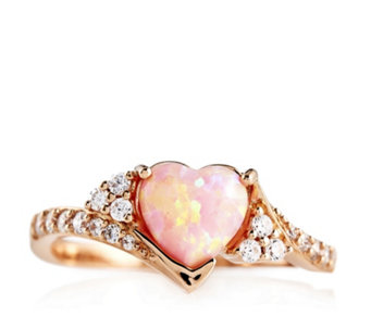 Diamonique 1.7ct tw Pink Opal Heart Ring Sterling Silver - 308751