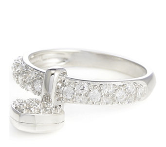 Diamonique 0.5ct tw Pave Charm Ring Sterling Silver - 309051