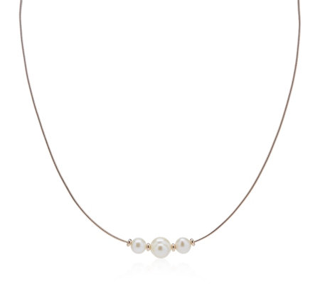 Honora 6-8mm Cultured Pearl Omega Necklace Sterling Silver