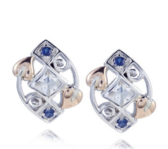 Clogau 9ct Rose Gold & Sterling Silver Sapphire & Topaz Stud Earrings - 317351