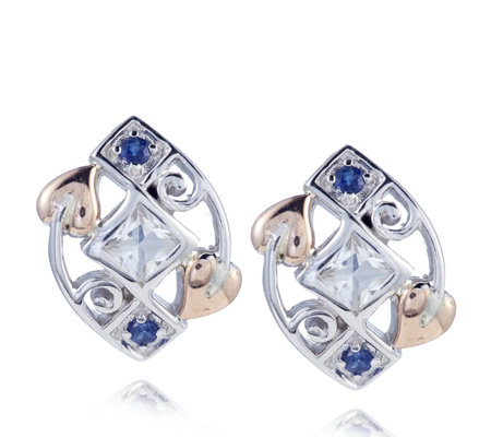 Clogau 9ct Rose Gold & Sterling Silver Sapphire & Topaz Stud Earrings
