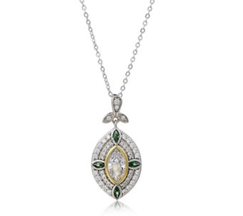 Diamonique by Tova Simulated Emerald 1.74ct tw Pendant & Chain Sterling Silver - 320251