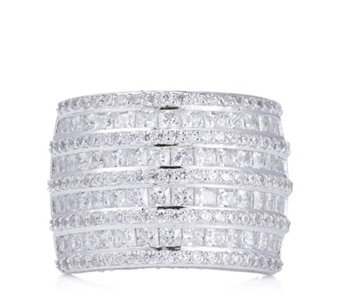 Diamonique 4.2ct tw Mixed Cut Statement Band Ring Sterling Silver - 309352