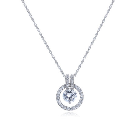 Michelle Mone for Diamonique 2.5ct tw Circle Pendant & Chain Sterling Silver