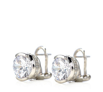 Diamonique By Tova 8 4ct Tw Round Cut Earrings Sterling Silver 330252