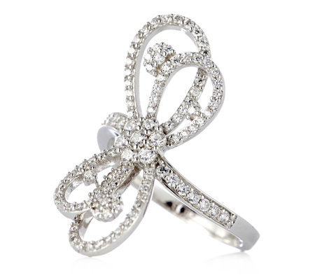 Diamonique Couture 0.9ct tw Bow Ring Sterling Silver