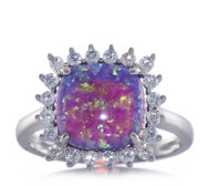 Diamonique 0.4ct tw Simulated Lavender Opal Halo Ring Sterling Silver