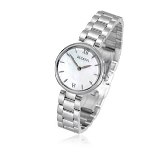 Bulova Ladies Mother of Pearl Stainless Steel Dress Watch - 308153