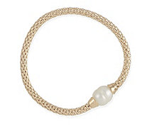 Honora 11-13mm Cultured Pearl Stretch 18.5cm Bracelet Bronze - 330653