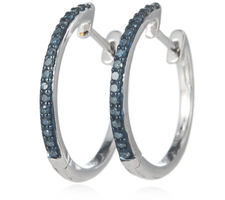 0.2ct Treated Diamond Huggie Hoop Earrings Sterling Silver
