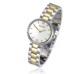 Bulova Ladies Mother of Pearl Stainless Steel Dress Watch - 308154