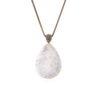 Frank Usher Pear Drop Mother of Pearl Crystal Necklace - 306655