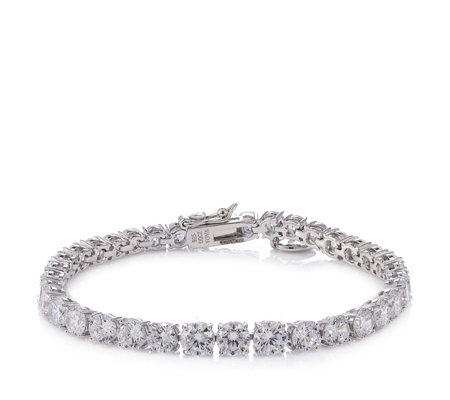 Diamonique by Tova 14.8ct tw Tennis 18cm Bracelet Sterling Silver