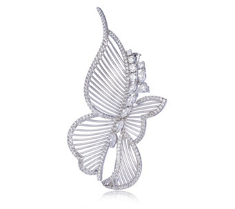 Diamonique Couture 3.3ct tw Butterfly Brooch Sterling Silver - 307655