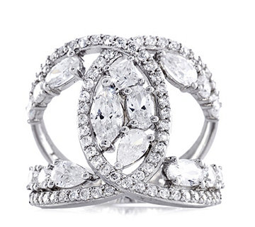 Diamonique 3.2ct tw Multi Cut Open Work Ring Sterling Silver - 307955