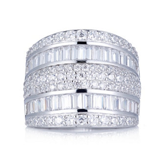 Diamonique 3.4ct tw Mixed Cut Band Ring Sterling Silver - 308755