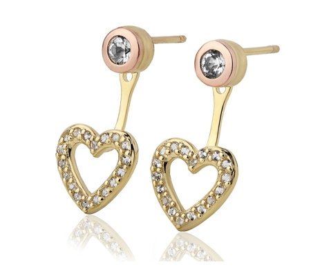 Clogau 9ct Gold David Emanuel Swarovski Topaz Heart Ear Jackets