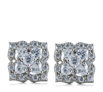 Diamonique 0.5ct tw Flower Stud Earrings Sterling Silver - 310955