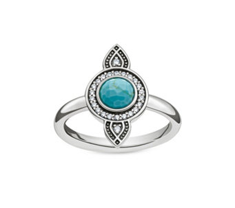 Thomas Sabo Dreamcatcher Simulated Turquoise Ring Sterling Silver - 312356