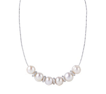 Honora 9-10mm Cultured Pearl Omega 47cm Necklace Sterling Silver - 316256