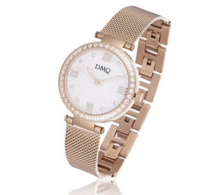 Diamonique 0.4ct tw Mother of Pearl Dial Watch Stainless Steel