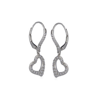 Diamonique 0.6ct tw Pave Heart Leverback Earrings Sterling Silver - 308957