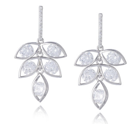 Diamonique 5ct tw Chandelier Earrings Sterling Silver
