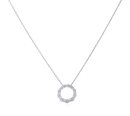 Diamonique 1.5ct tw Circle Pendant & 45cm Chain Sterling Silver