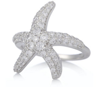Diamonique 1.6ct tw Starfish Ring Sterling Silver - 312857