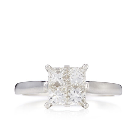 1ct Diamond Princess Cut Seamless Set Ring 9ct Gold