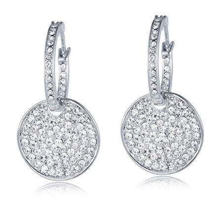 Loverocks Crystal Pave Hoop & Wave Disc Interchangeable 2 in 1 Earrings