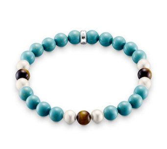 Thomas Sabo Rebel at Heart Simulated Turquoise Bracelet Sterling Silver - 312358
