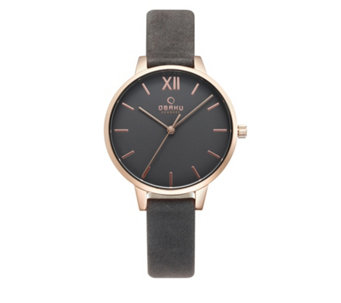 Obaku Ladies Liv Leather Strap Watch - 316158
