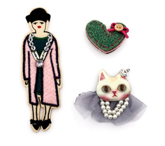 One Button Whimsical Felt Brooch Set - 319959