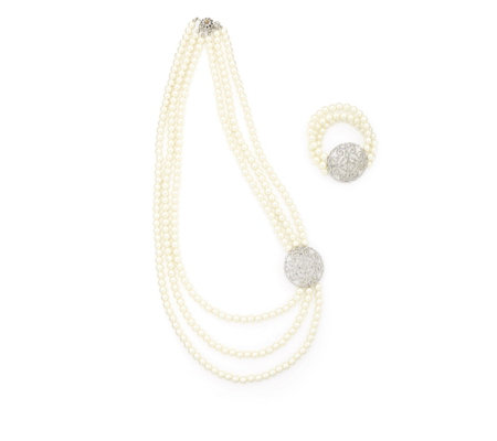 Frank Usher Simulated Pearl Necklace & Bracelet Set