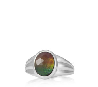 Canadian Ammolite Triplet Faceted Oval Ring Sterling Silver - 307460