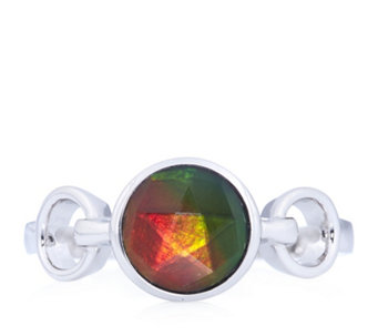Canadian Ammolite Triplet Faceted Ring Sterling Silver - 313660