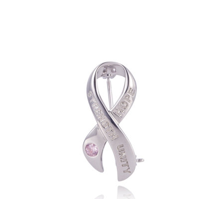 Breast Cancer Care 25th Anniversary Ribbon Brooch Sterling Silver