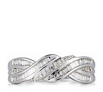 0.25ct Diamond Baguette & Round Cut Wave Band Ring 9ct Gold - 330460