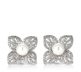 Frank Usher Flower & Simulated Pearl Stud Earrings - 306061