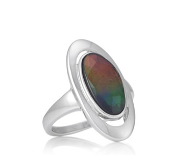 Canadian Ammolite Triplet Faceted Oval Ring Sterling Silver - 307461