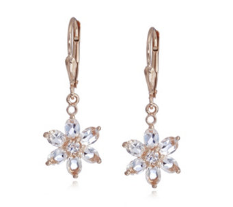1.9ct Morganite Flower Leverback Earrings Rose Gold Vermeil Sterling Silver - 309062