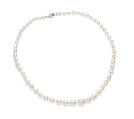 Honora 5-9mm Oval Classic Pearl 45cm Necklace Sterling Silver