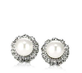 Frank Usher Crystal & Simulated Pearl Stud Earrings - 306063