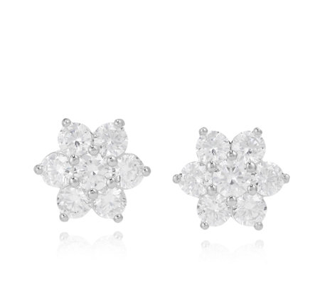 Michelle Mone for Diamonique 4.1ct tw Flower Earrings Sterling Silver