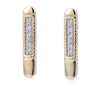 Diamond Accent Bar Earrings 9ct Gold - 308963