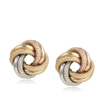 9ct Gold Tri Colour Textured Knot Stud Earrings - 317463